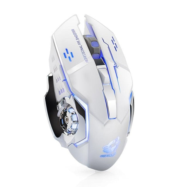 Wireless Silent LED Backlit USB Optical Ergonomic Gaming Mouse - MAXELAR