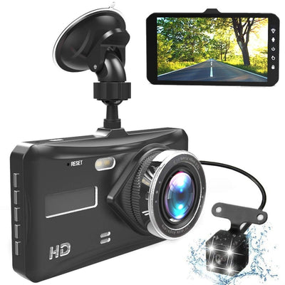 "Dash Cam Dual Lens Full HD 1080P 4"" IPS Car DVR Vehicle Camera - MAXELAR"