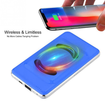 6000mAh Qi Wireless Fast Charger 2 in 1 Power Bank Phone Charger - MAXELAR