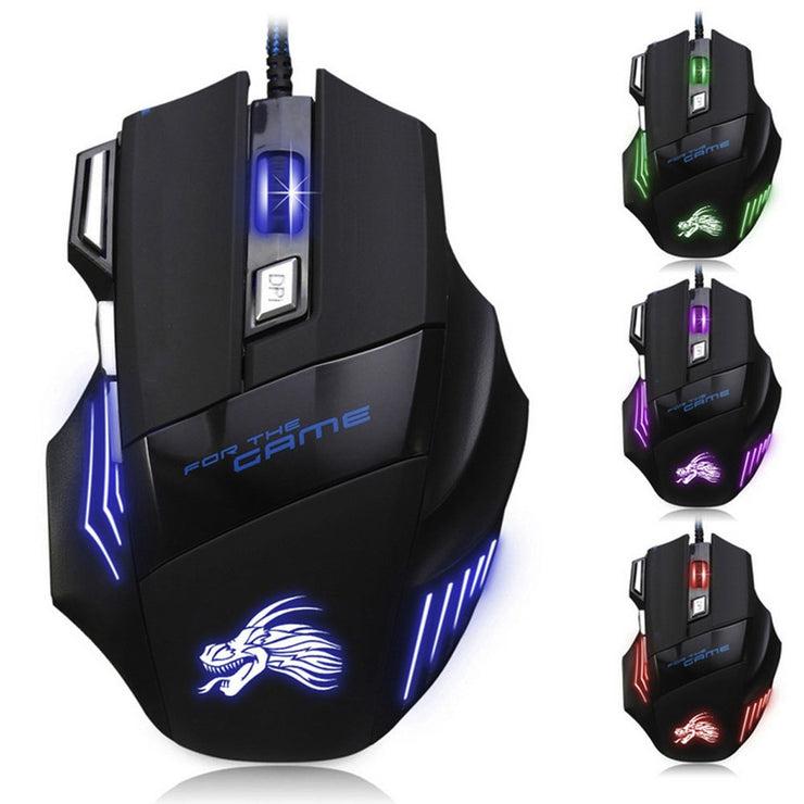 5500 DPI 7 Button LED Optical USB Wired Gaming Mouse - MAXELAR