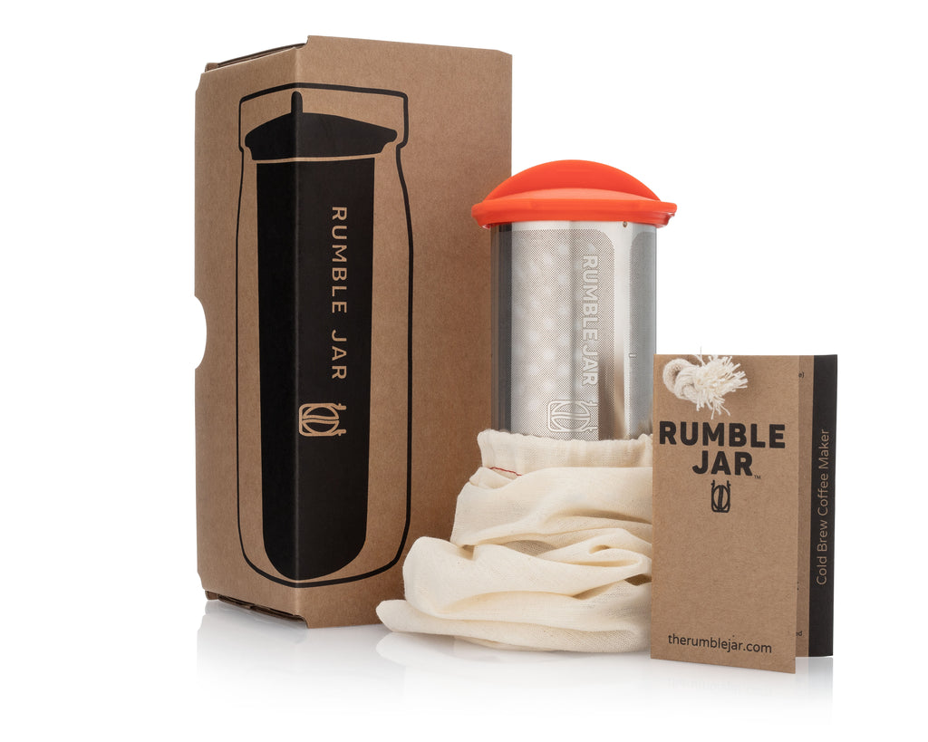 Rumble Jar 32oz standalone cold brew coffee filter next to its box