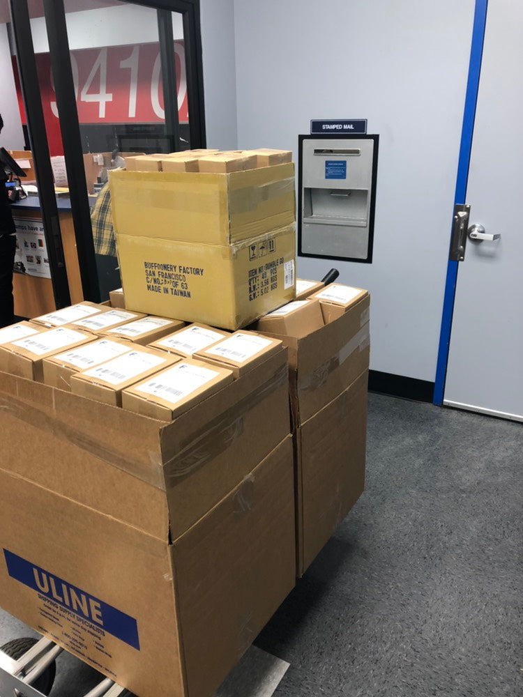 Boxes waiting to go out the door