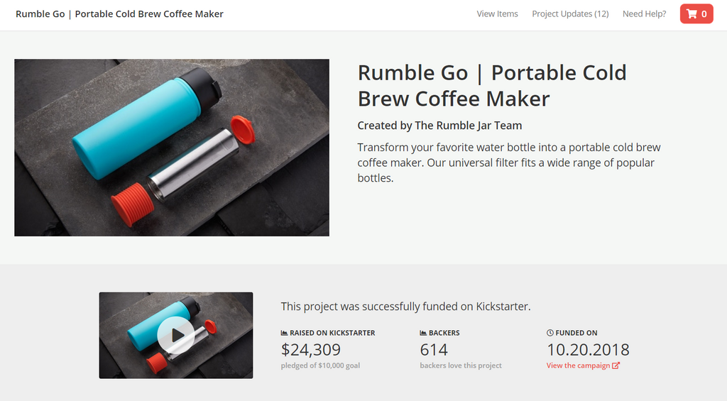 Rumble Go pre-order page on Backerkit