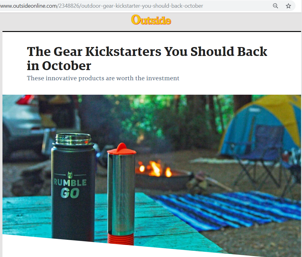 Rumble Go in Outside Magazine Kickstarters You Should Back in October