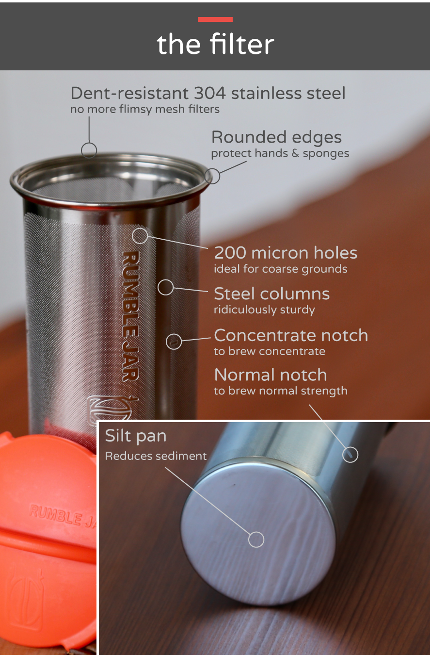 Rumble Jar's industry-leading cold brew coffee filter design