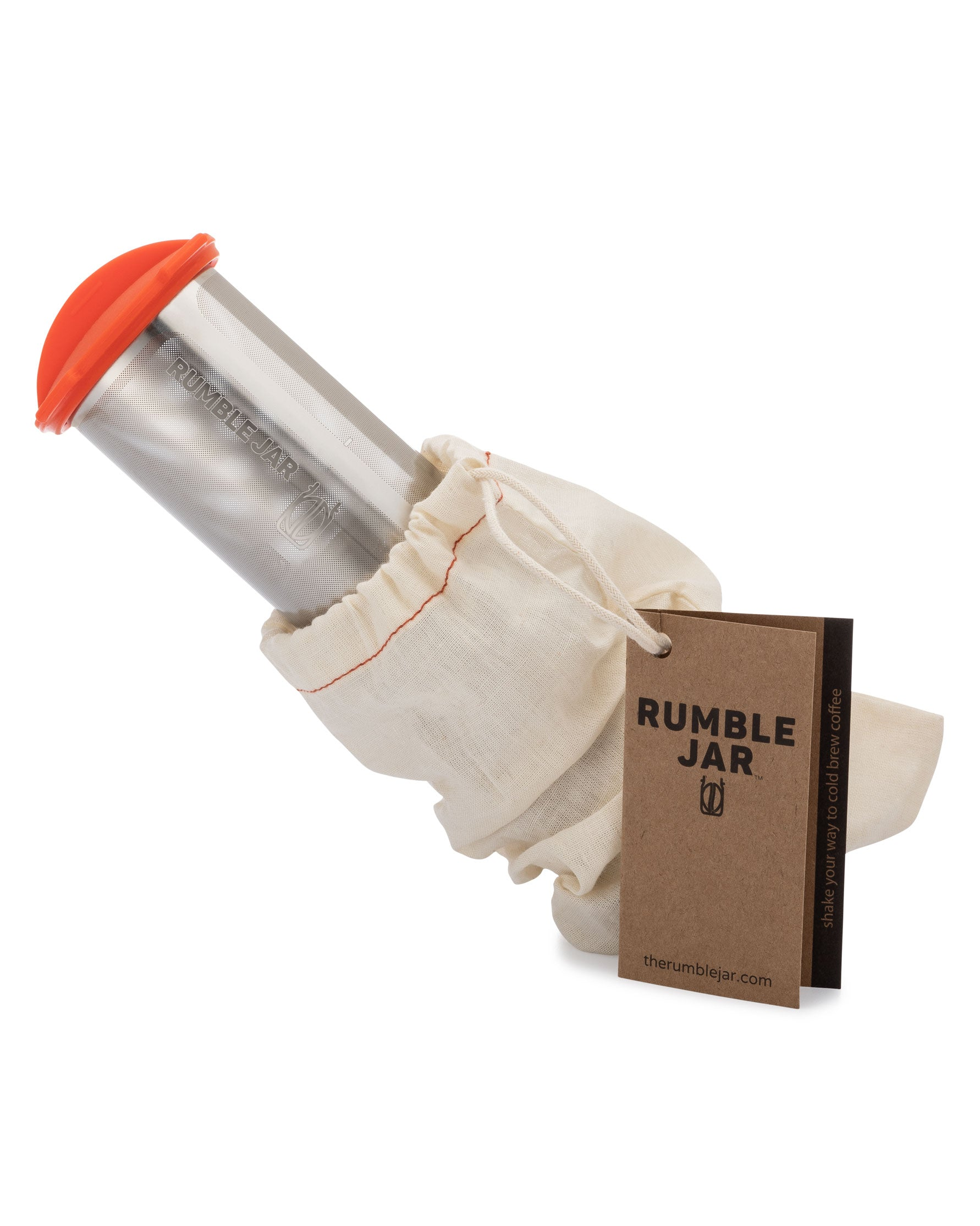Rumble Jar half gallon 64 ounce cold brew coffee filter with orangey-red cap cotton filter sock and hangtag