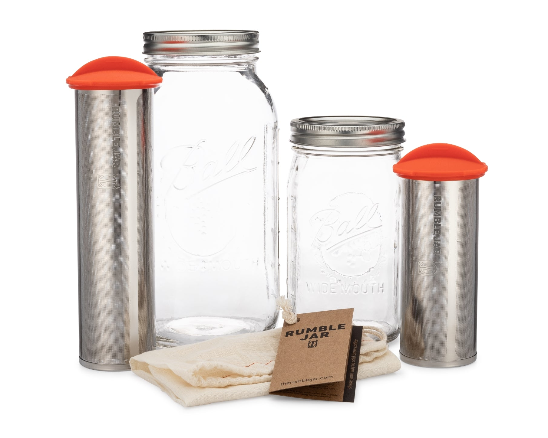 Rumble Jar quart size and half gallon size cold brew coffee makers and their Mason jars
