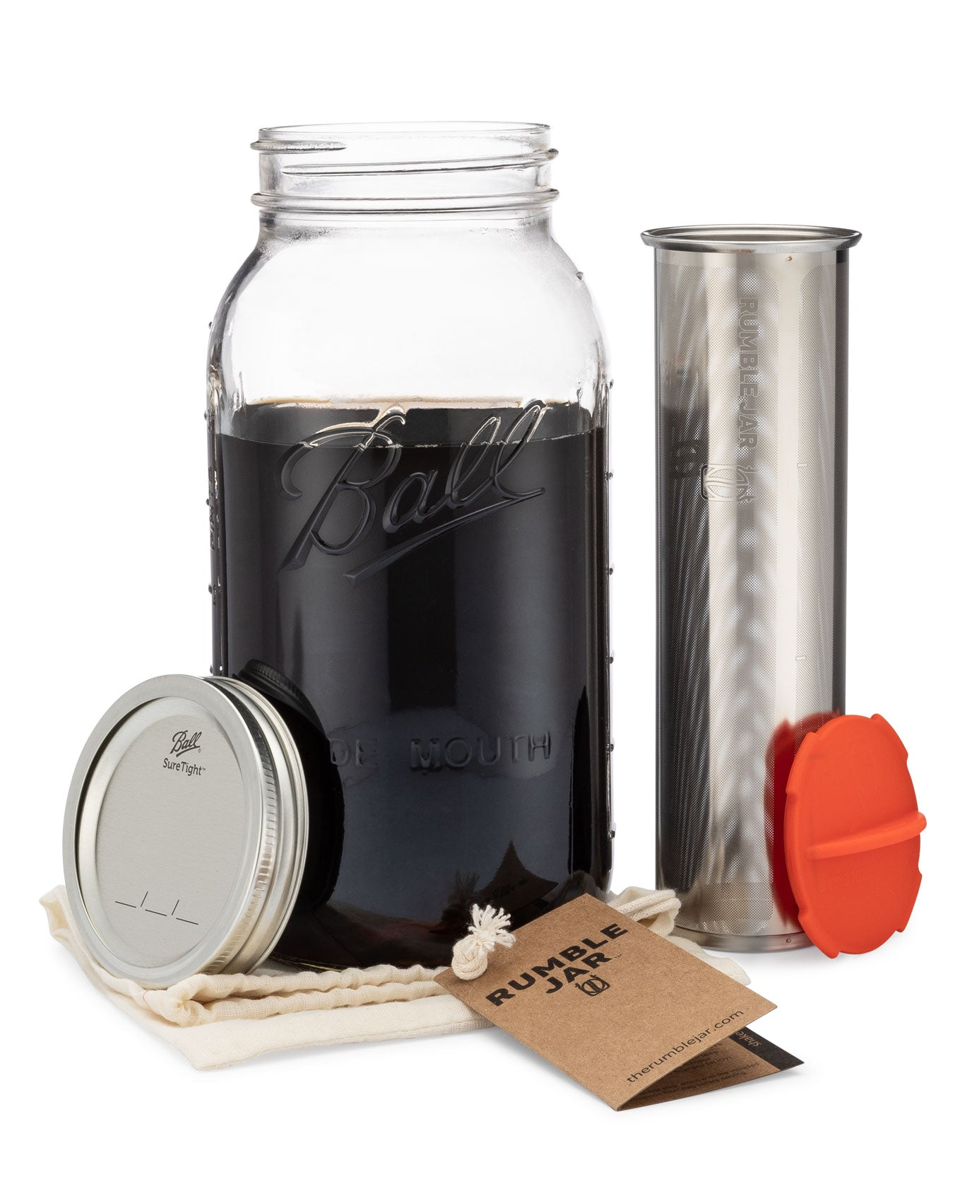 Rumble Jar half gallon 64 ounce cold brew coffee filter with orangey-red cap cotton filter sock and hangtag next to a Mason jar