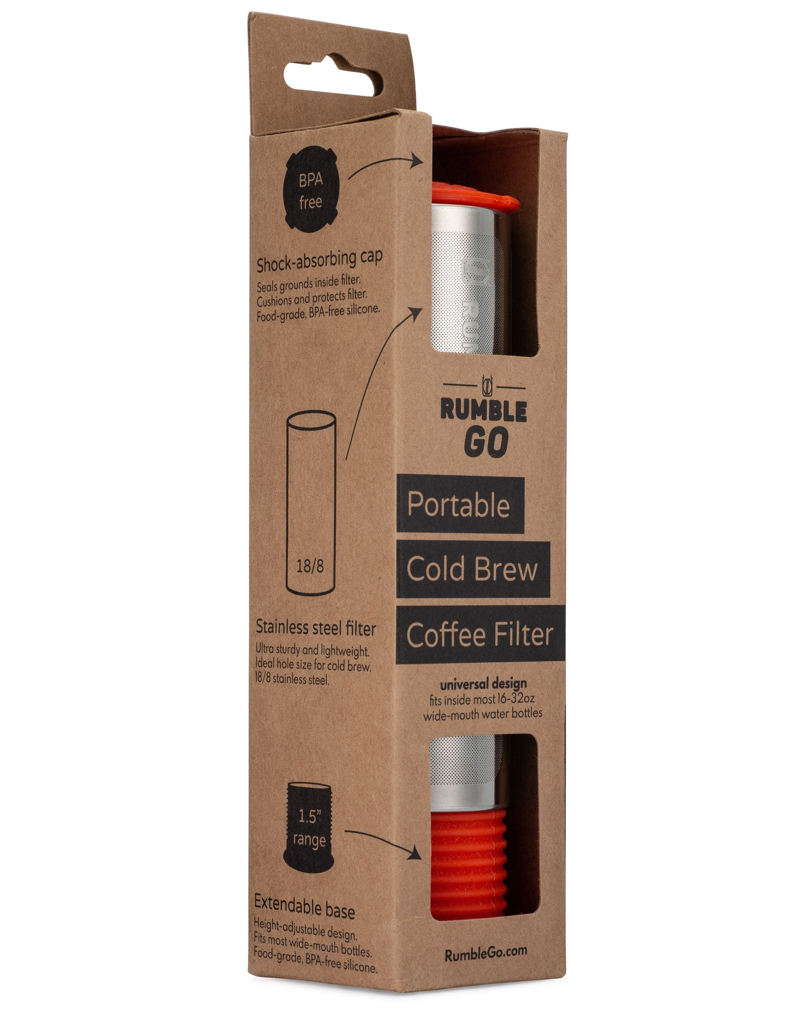 Rumble Go cold brew filter in its packaging