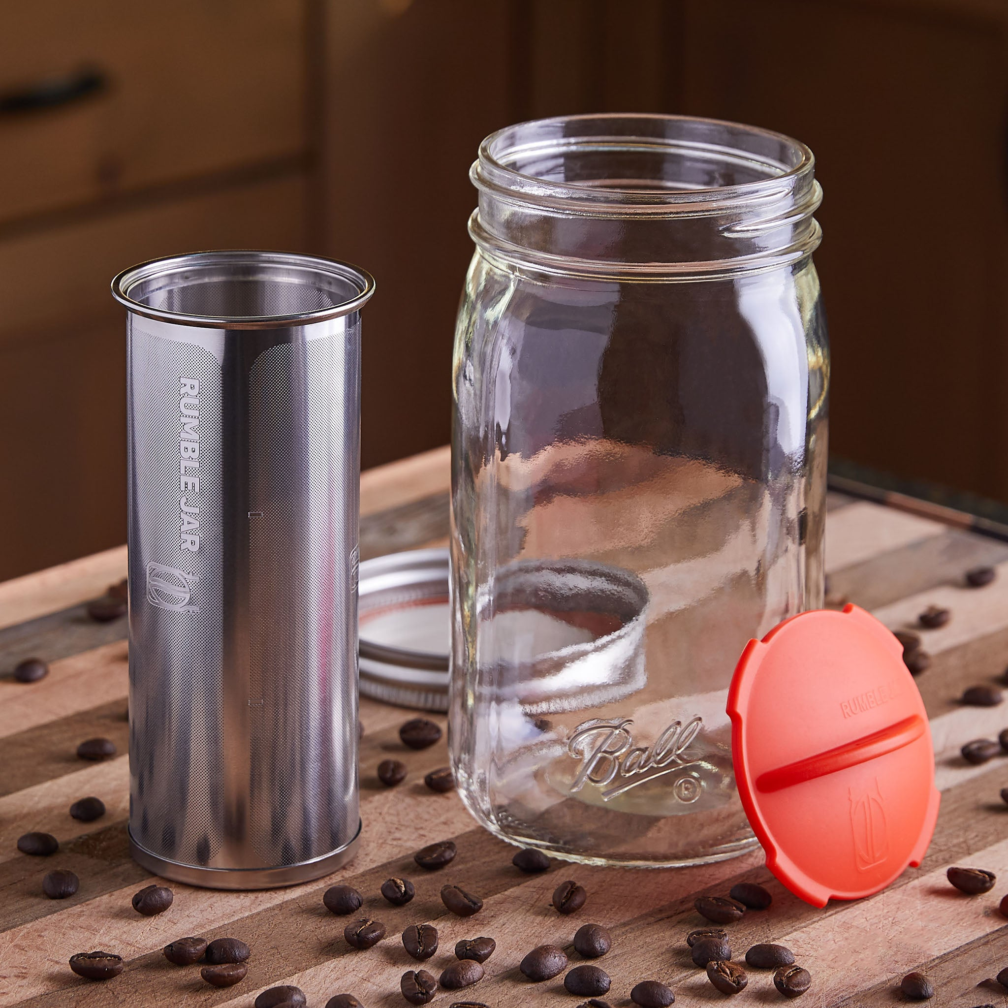 Rumble Jar Cold Brew Coffee Maker in a Mason Jar