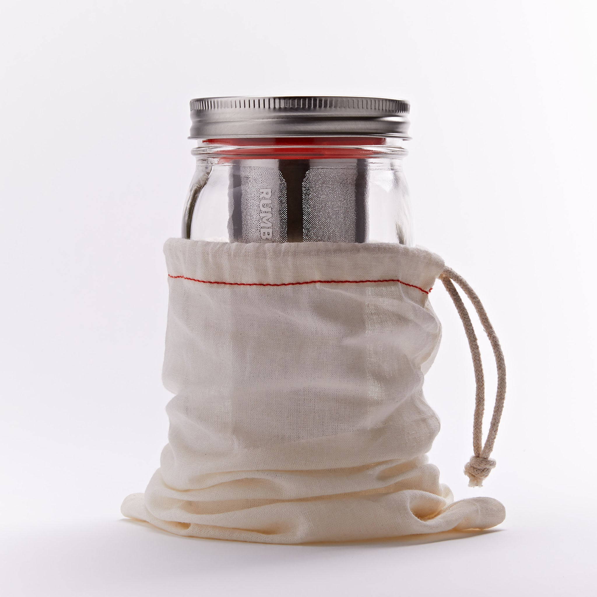 Rumble Jar cold brew maker includes an optional cotton filter sock