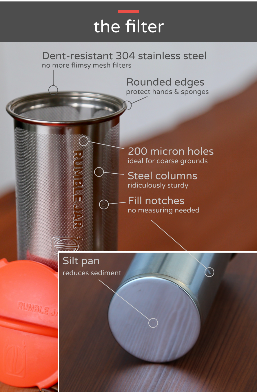 Rumble Jar's next generation cold brew coffee filter