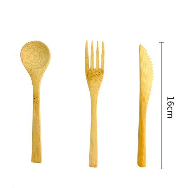 Eco friendly - Bamboo Flatware Set Biodegradable 3Pcs