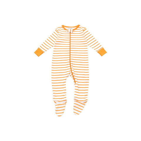 footed pajamas in orange marseille stripe
