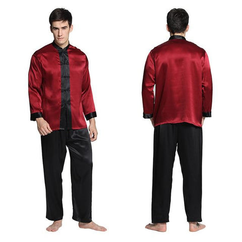 Lilysilk Nightwear Pure Silk Long Pajamas for Men Sleep Lounge 22 Momme Long Sleeve Couple Exotic Buttons Luxury Sleepwe