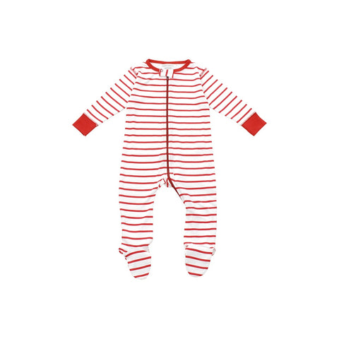 footed pajamas in red marseille stripe