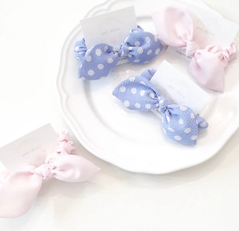 Pink Chickie Scrunchie- Blue Polka Dot