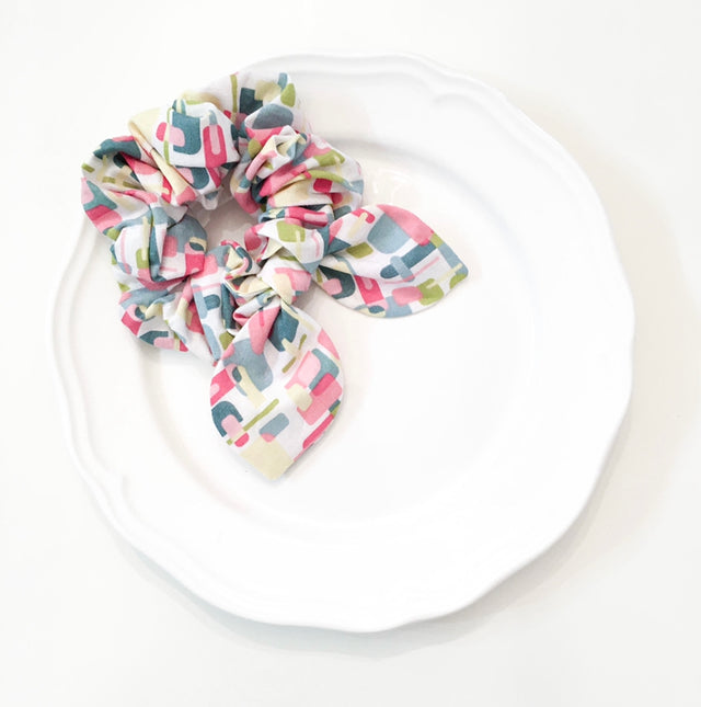 Pink Chickie Scrunchie- Colorful Rectangles