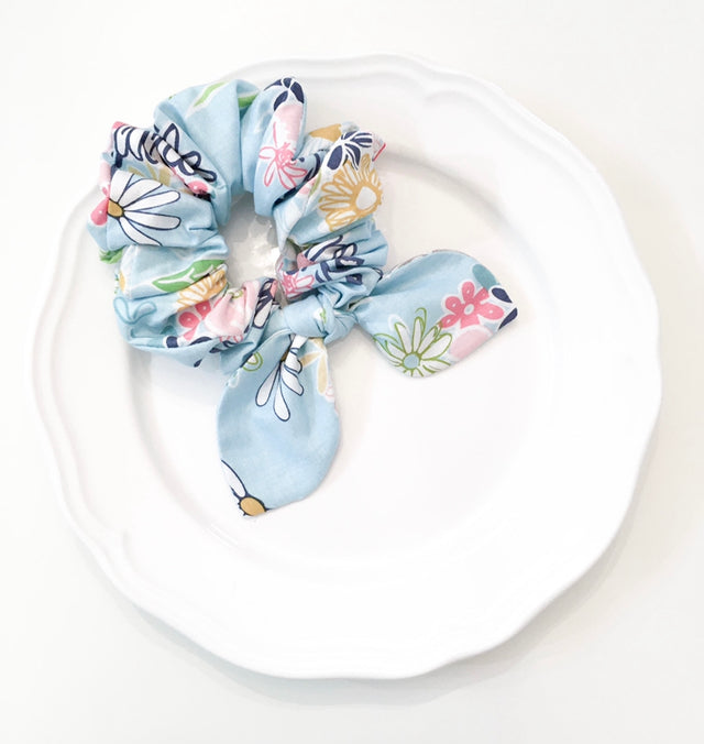 Pink Chickie Scrunchie- Blue Floral