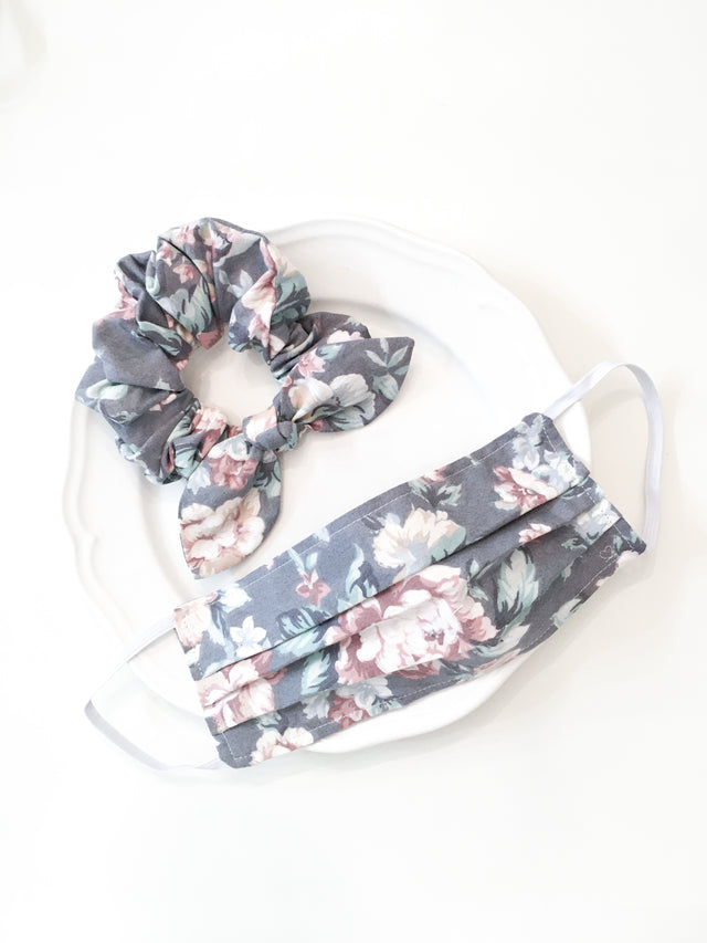 Pink Chickie Scrunchie- Grey & Pink Floral