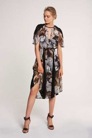 Collage Viscose Yoryu & Cut Out Embroidery Dress