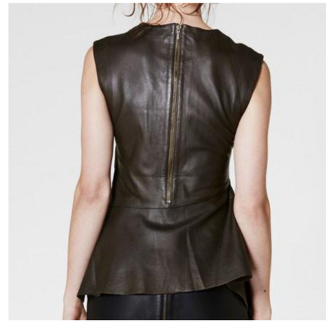 Gauntlet Sleeveless Leather Peplum Top