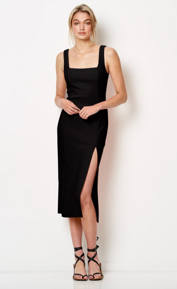 Hibiscus Islands Midi Dress in Midnight