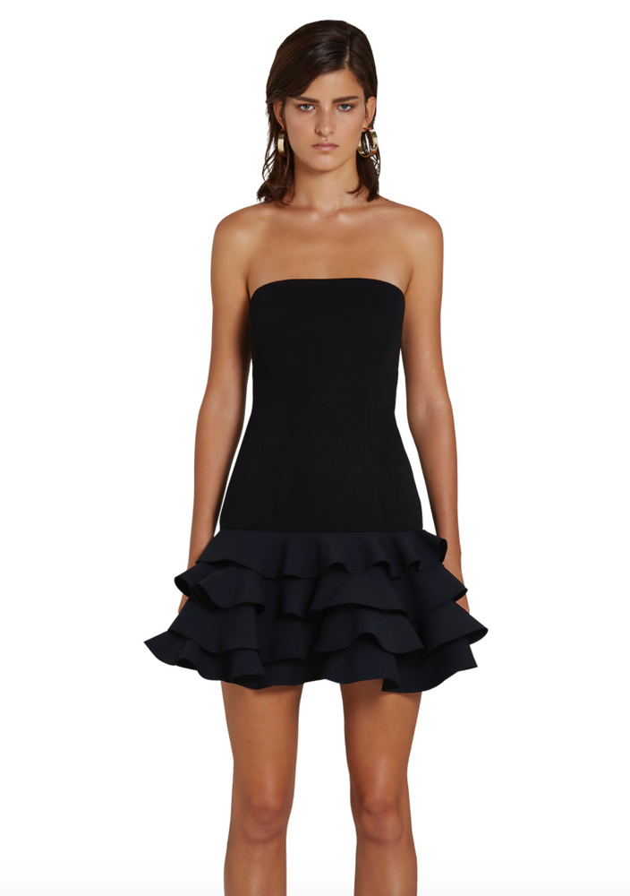 Calla Frill Strapless Mini Dress