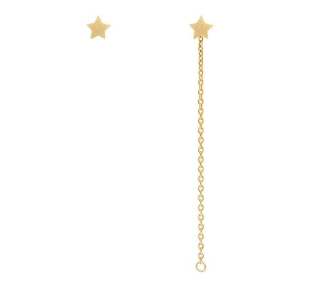 Star Stud Chain Earrings
