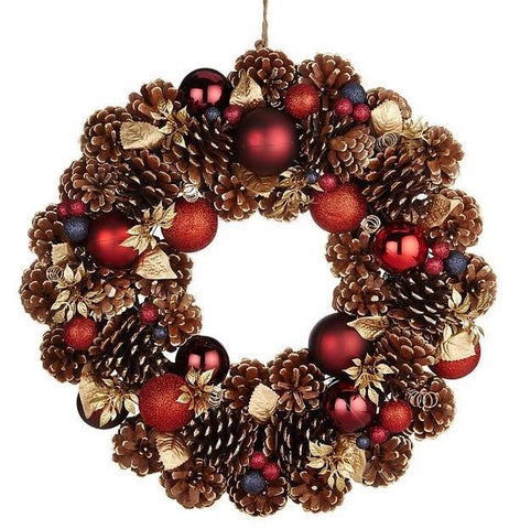 Bauble and Cones Christmas Wreath