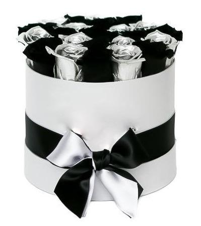 Black and Silver Roses Hat Box