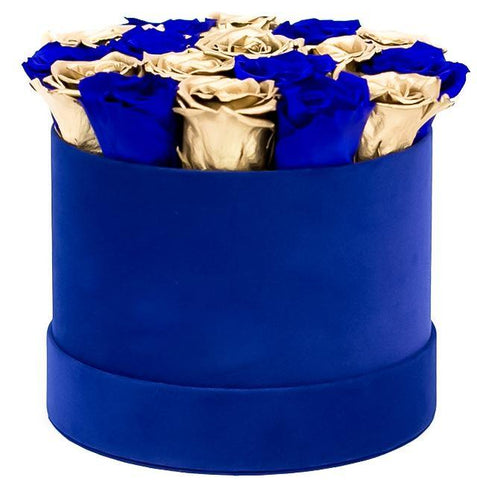 Blue and Gold Roses Hat Box