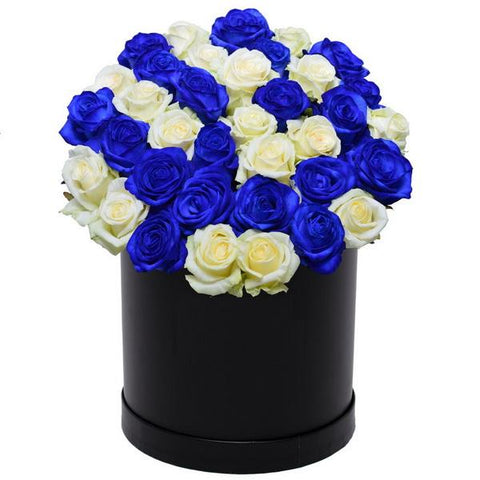 Blue and White Roses Hat Box