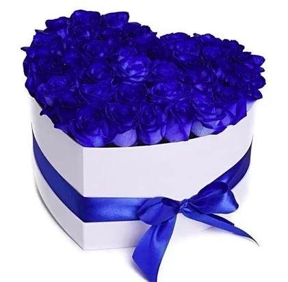Blue Roses Heart Box