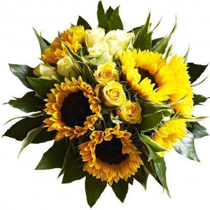 Bouquet of Sunflowers and Roses