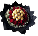 Chocolate and Roses with Gypsophila Bouquet