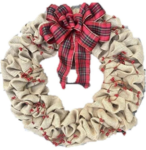 Christmas Burlap Wreath with Berries