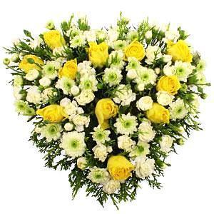 Chrysanthemum & Yellow Roses Heart