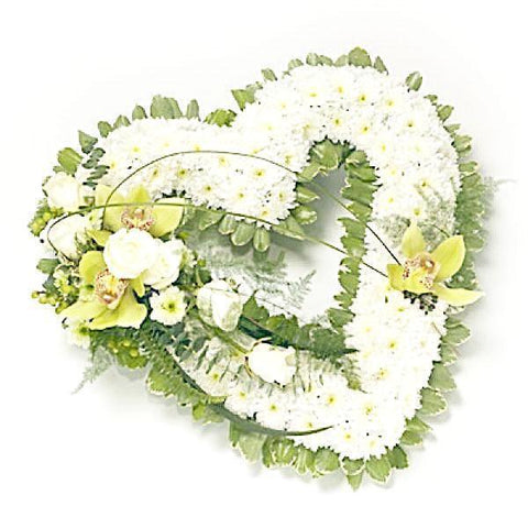 Classic White Open Heart with Green Corsage