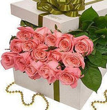 Dozen Pink Roses Luxury Box