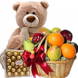 Ferrero Rocher and Fruit Basket with Teddy Bear