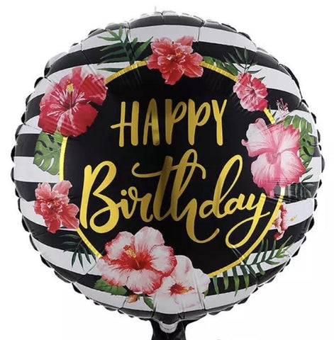 Floral Balloon Happy Birthday 18 inch
