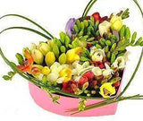 Fragrant Freesias Heart Box
