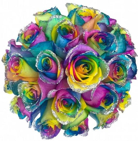 Glitter Rainbow Roses Bouquet