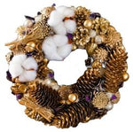 Gold Christmas Wreath with Cotton