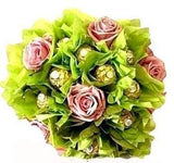Green Ferrero Rocher Chocolate Bouquet with Roses