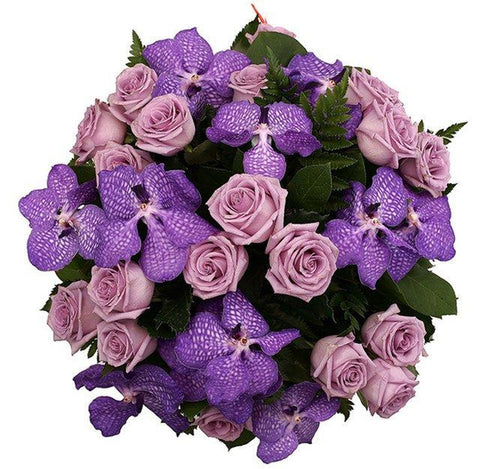 Lavender Roses with Orchids