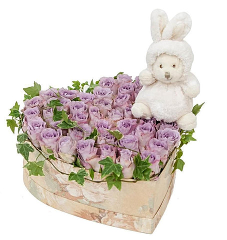 Lavender Roses with Surprise Heart Box
