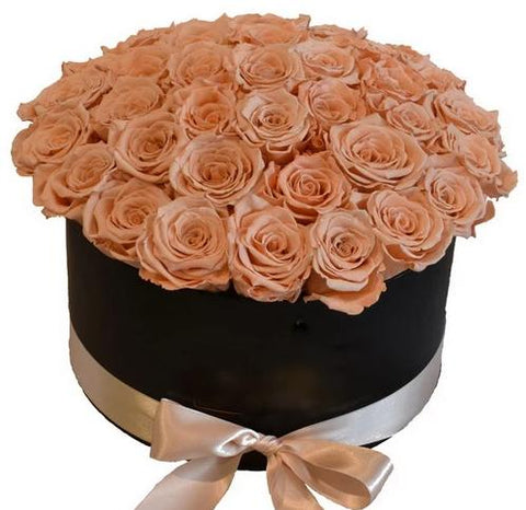 Luxury Cappuccino Roses Hat Box
