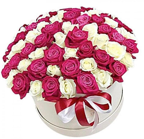Luxury Deep Pink and White Roses Hat Box